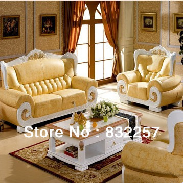 Leather Sofa European White light Thick leather Living Room Furniture ...