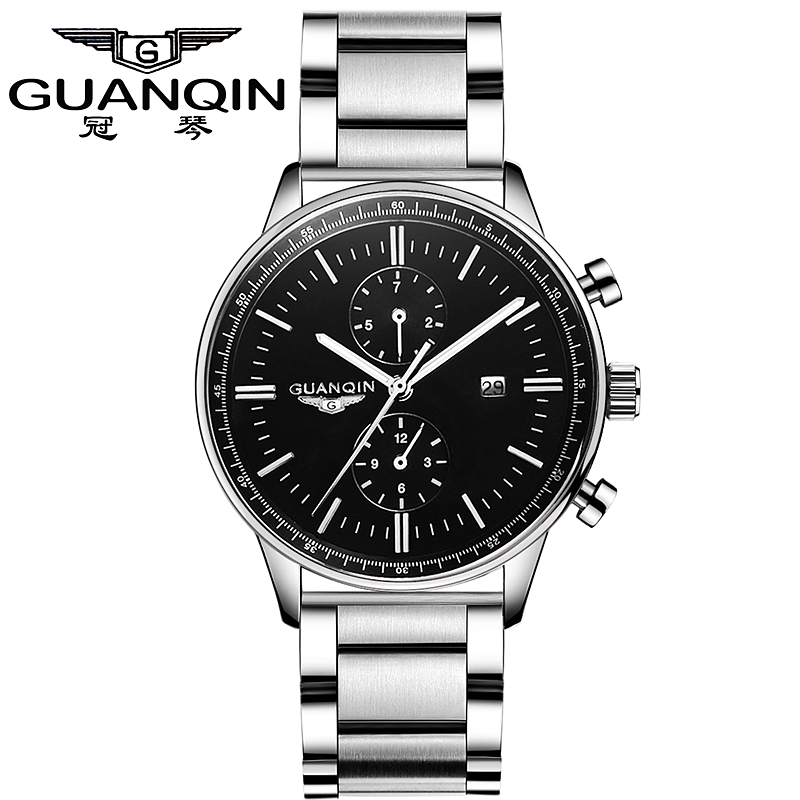 Weekly Calendar Quartz : Guanqin gq watch quartz men s stainless steel