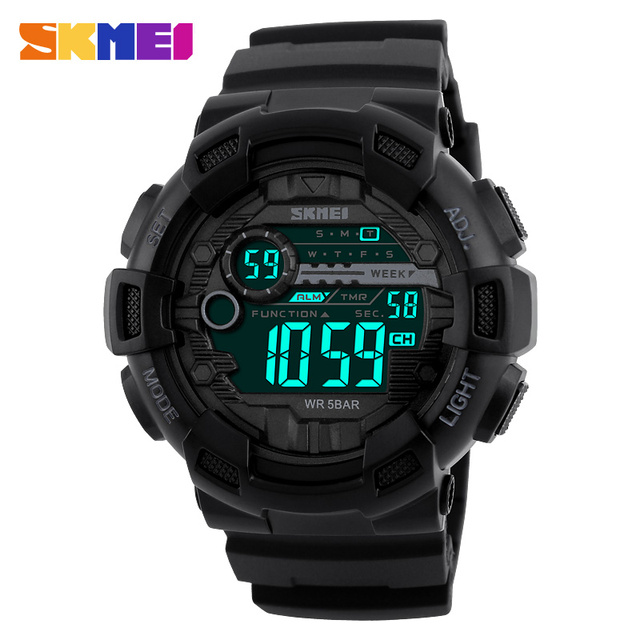 SKMEI Мужчины Спортивные Часы 50 М Водонепроницаемый Подсветкой LED Цифровые Часы Хронограф Шок Двойной Времени Наручные Часы 1243