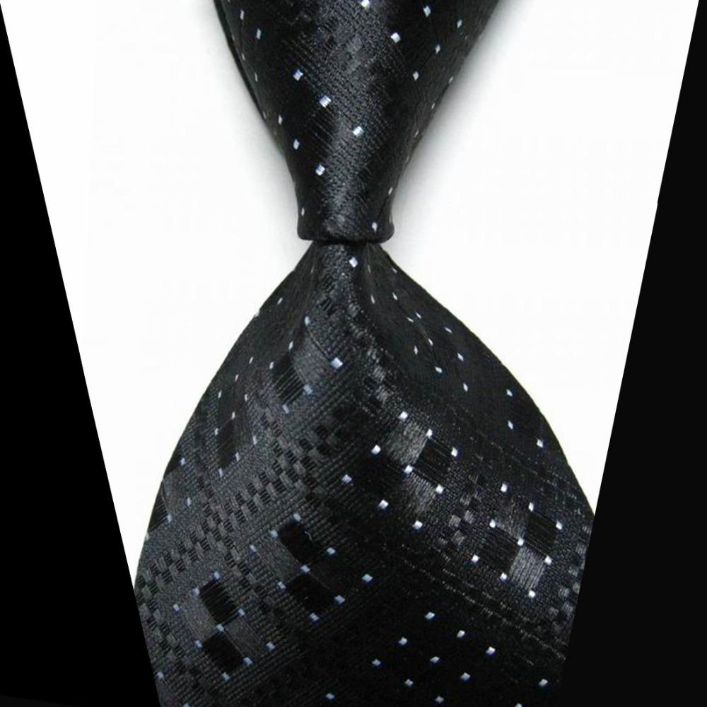 NT0002 Black White 100% Silk Stripes Classic JACQUARD WOVEN Men's Tie Necktie(China (Mainland))