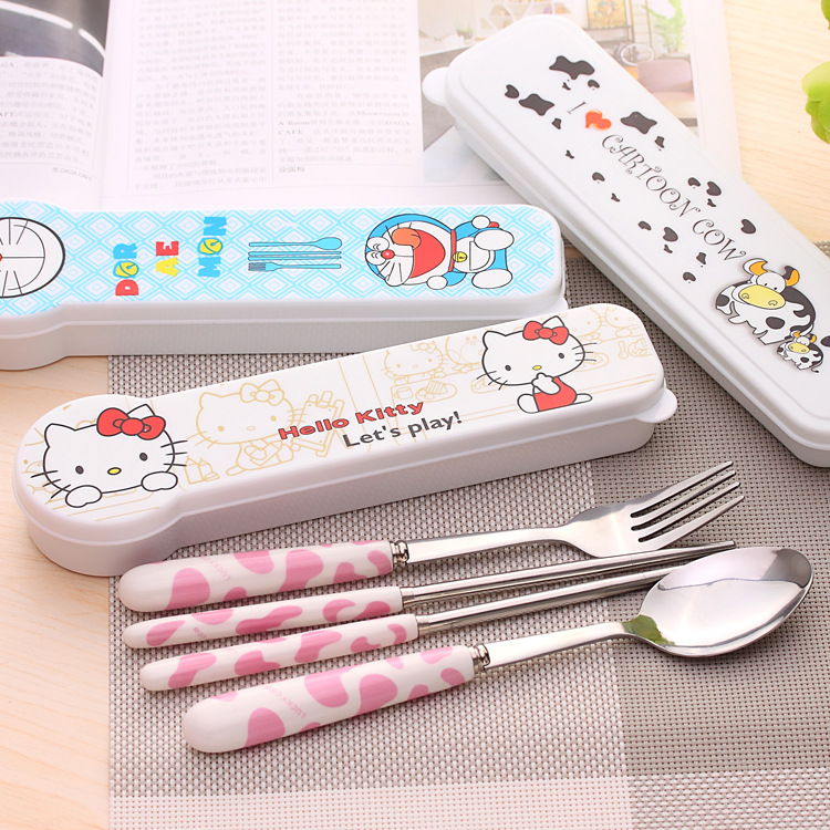 ZL08 cartoon creative portable travel cutlery set stainless steel chopsticks spoon fork set of three(China (Mainland))