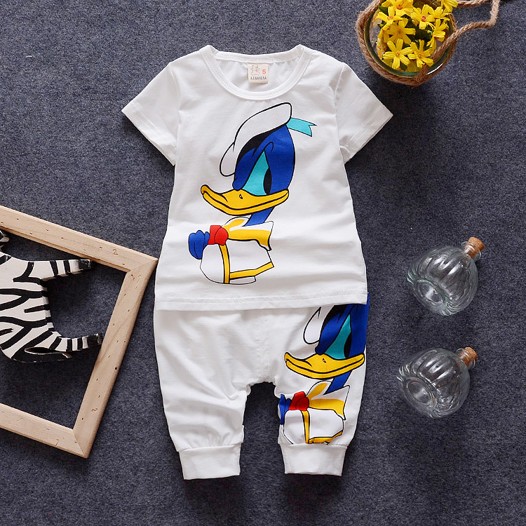 2016 Summer Children Cartoon Suits Baby Girls Boys Clothes Sets Korean Cotton T Shirt+Shorts 2 Pcs Kids Infant Casual Suits
