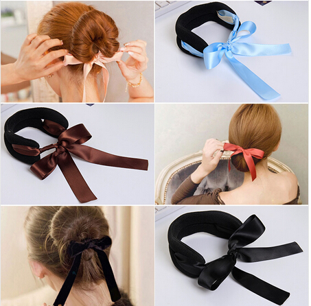 Black Corduroy Ribbon Bows Rope Hair Device Clip Pins for Women Headwear Hair Accessories for Girls 6Pcs/lot()