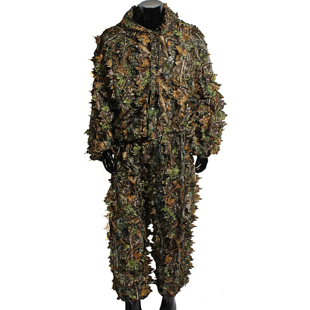 High Quality Woodland Sniper Ghillie Bionic Suit Kit 3D Leaf Camouflage Camo Jungle Hunting Birding Outdoor Coveralls<br><br>Aliexpress