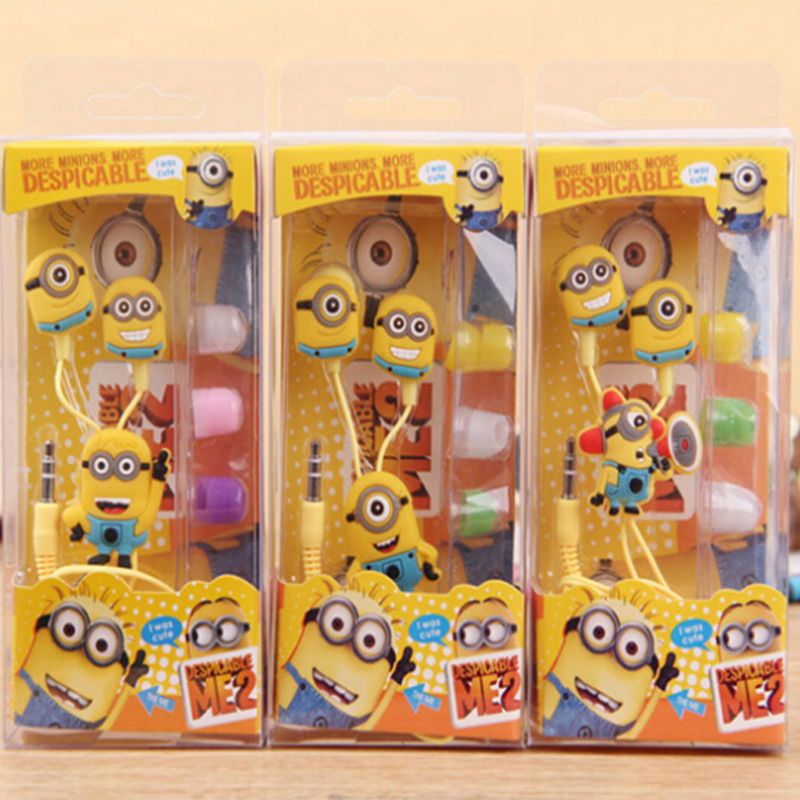 New fashion high quality lovely Despicable Minions Cartoon headphones for samsung galaxy s7universal In-ear earphones headphones(China (Mainland))