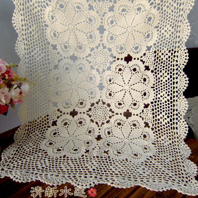 French design good Handmade hook needle vintage crochet knitted table cloth table runner sofa towel cabinet decoration rectangle(China (Mainland))