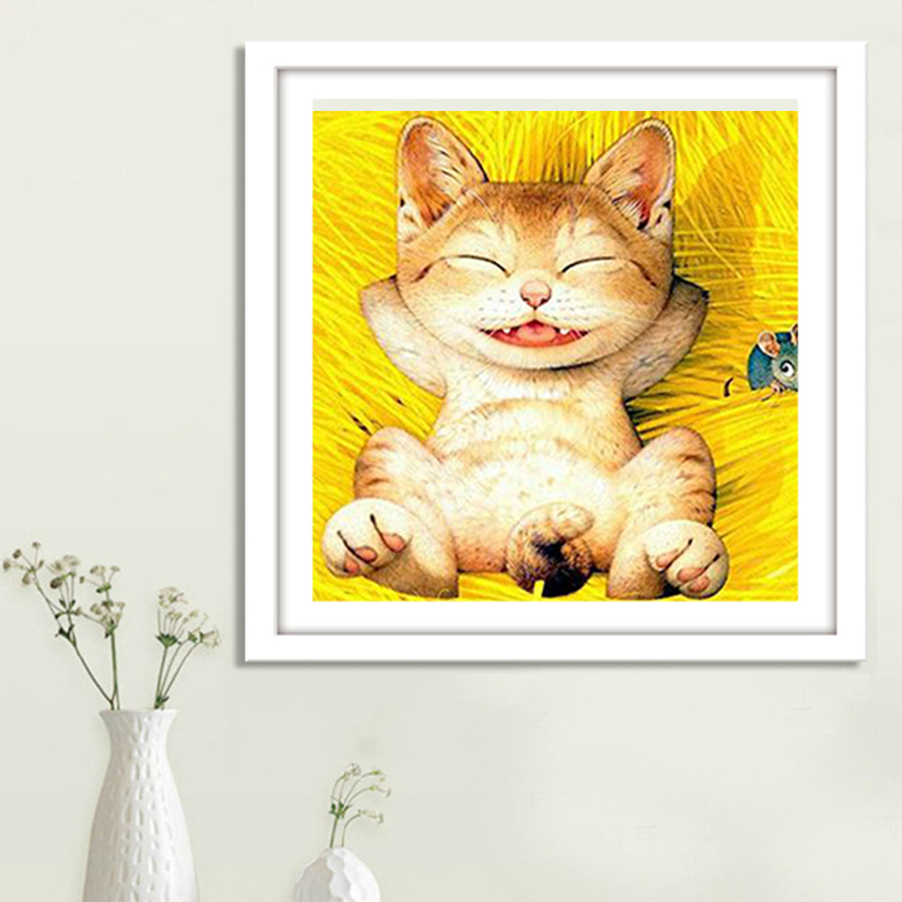 Happy Cats Diamond Embroidery Cartoon Pictures Diamond Painting Cross Stitcher Box Packing Gifts For Women T1041(China (Mainland))