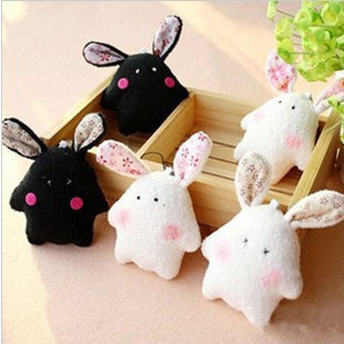 New Pearl Rabbit Plush small pendant lovely small dolls Package/Mobile phone/ Keychain accessories(China (Mainland))