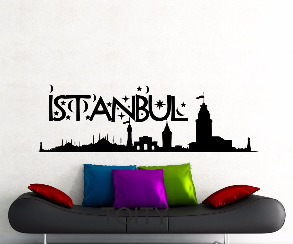 Istanbul Wall Sticker Turkey Famous Silhouette Landscape Word City Vinyl Decal Home Room Interior Decor Art Mural(China (Mainland))