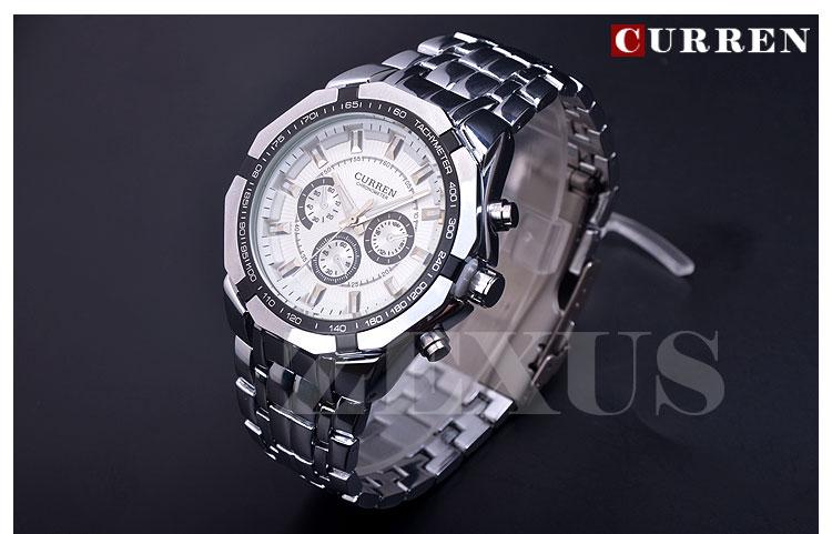 2015 High Quality Fashion Brand Curren Men Quartz Watch For Man Causal Watches Men Full Steel
