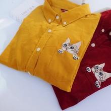 M L XL -- Corduroy pocket cat embroidery long sleeve cute kawaii cartoon shirt blouse mori girl (China (Mainland))