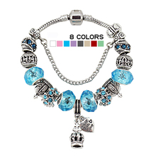 Silver Plated Charm Heart/Crown Bracelets & Bangles Murano Blue Glass European Diy Beads Bracelets for women B15098 (China (Mainland))