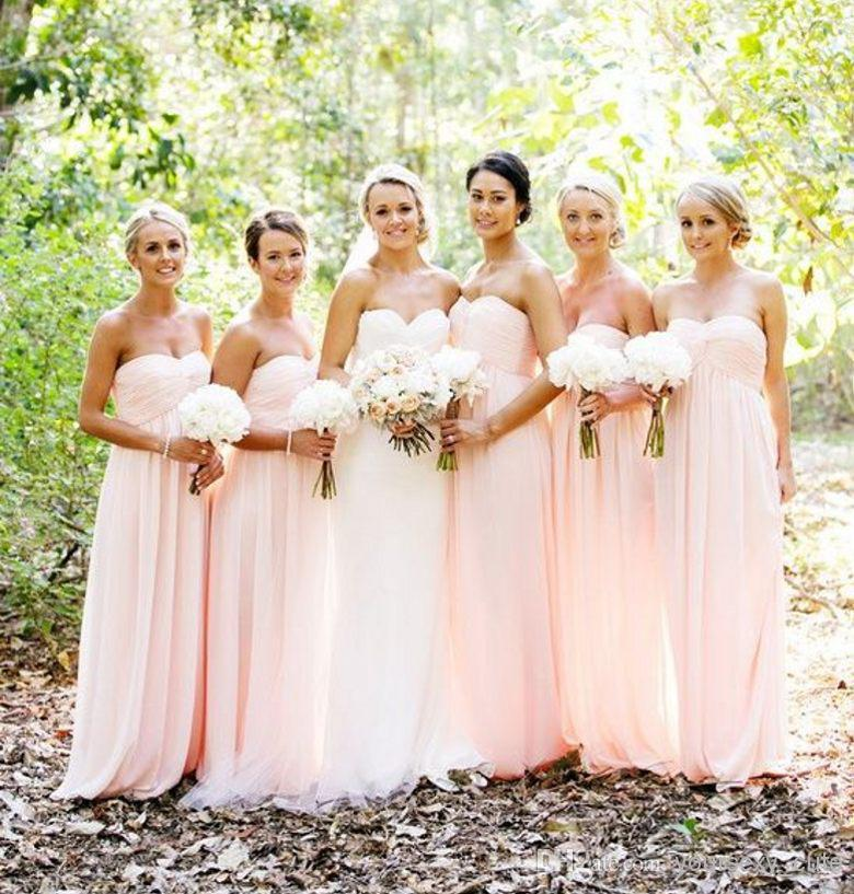 New Design Peach Color Wedding Bridemaid Dresses 2015 Cheap Long Chiffon Dress Party Summer