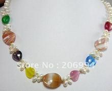fashion jewelry Beautiful jade Freshwater pearl Necklace fashion Jewelry #036(China (Mainland))