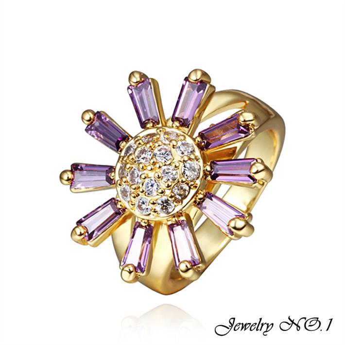 Rings Jewelry Gold Plated Ring Jewelry Rings For Women Crown Gold Plated Aneis Color Focus Amethyst Heart-Shaped Cross 2 Color(China (Mainland))