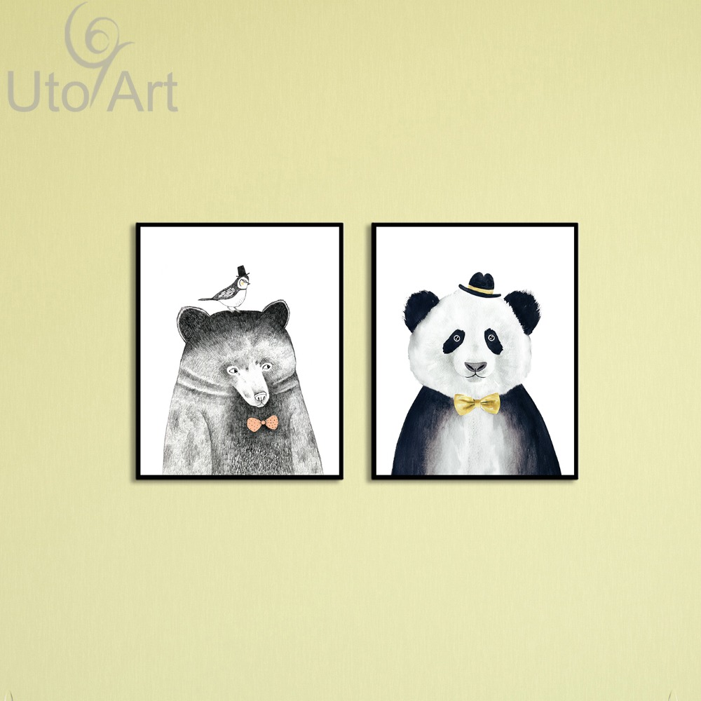 Diptychs Watercolor Nordic Animal Bear Panda A4 Art Prints Poster Hipster Wall Picture Canvas Painting Kids Room Home Decor
