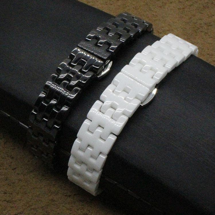 Замена strapsCeramic черный белый ремешок для часов 14 мм fit алмаз часы леди раза нержавеющая сталь развертывающаяся застежка