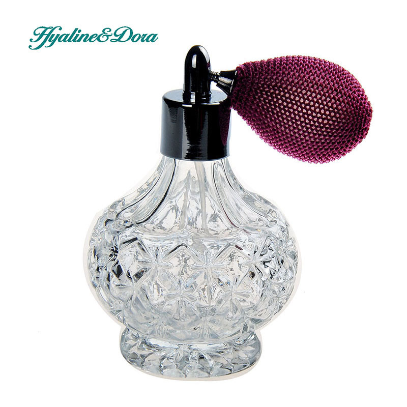 Vintage Crystal Perfume Bottle 80ml Spray Atomizer Wine Red Bulb Empty Refillable Home Decoration(China (Mainland))