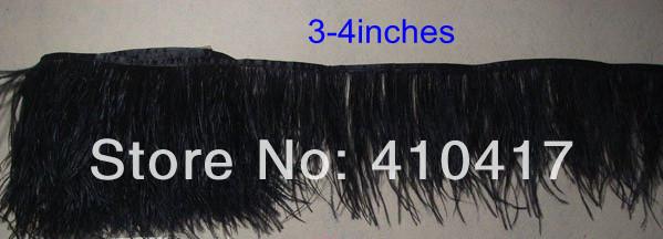 2 ярды черный цвет перьев ленты из страусиных перьев бахрома отделка 3 - 4 дюйм(ов) / 8 - 10 см бесплатная доставка
