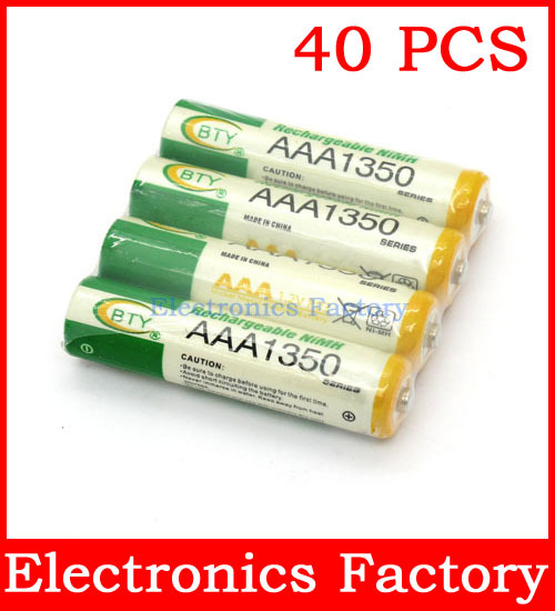 40 pcs/ Lot AAA 3A 1350mAh LR03 Ni-MH 1.2V Rechargeable BTY Green Battery Cell<br><br>Aliexpress