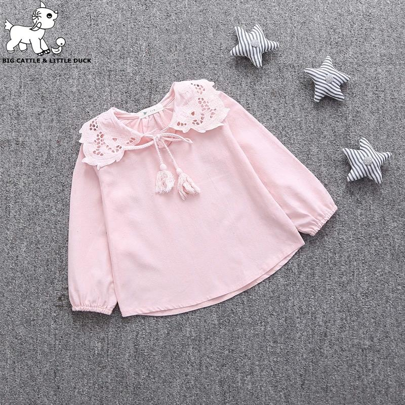 Cute Lace Children's T-Shirt 2016 Autumn 100% pure Cotton Kid's Render Shirt Baby Girls Clothing Soft Long Sleeve Tops 0-4Y(China (Mainland))