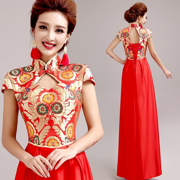 Aliexpress Buy 2015 New Design Red Short Sleeve Embroidery Long Cheongsam Dress Backless