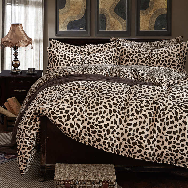 100 cotton duvet cover bedding set leopard bedcolthes for Lit queen size