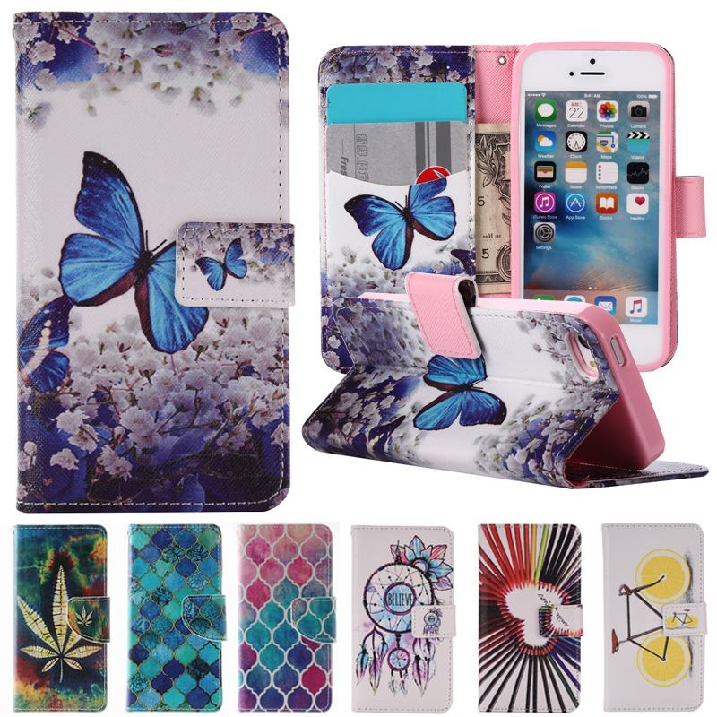 Fashion Painted Wallet Coque iPhone 5s Case Leather Wallet Luxury Flip Cover Phone Case Fundas iPhone 5 SE Case Capa