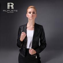 Spring&Autumn Black Imitation Leather Jacket Feminino Slim Short Coat High Quality New Designers Lace Belt 2015 RUFUETE 21110(China (Mainland))