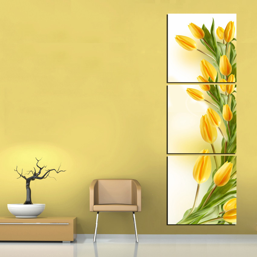 Modern abstract 3 panel wall art yellow tulip flower print on canvas art picture painting for - Wall paintings for home decoration ...