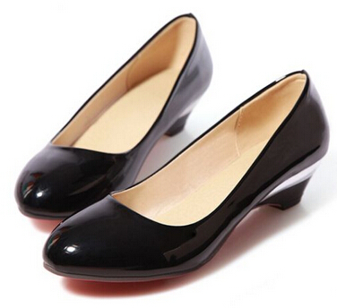 Plain Plus Size 34-48 Women's Low-Heeled Work Shoes Women Wedges Pumps Japanned Leather Sqaure Heel Wedding Black+Apricot - Hight Colors Store store