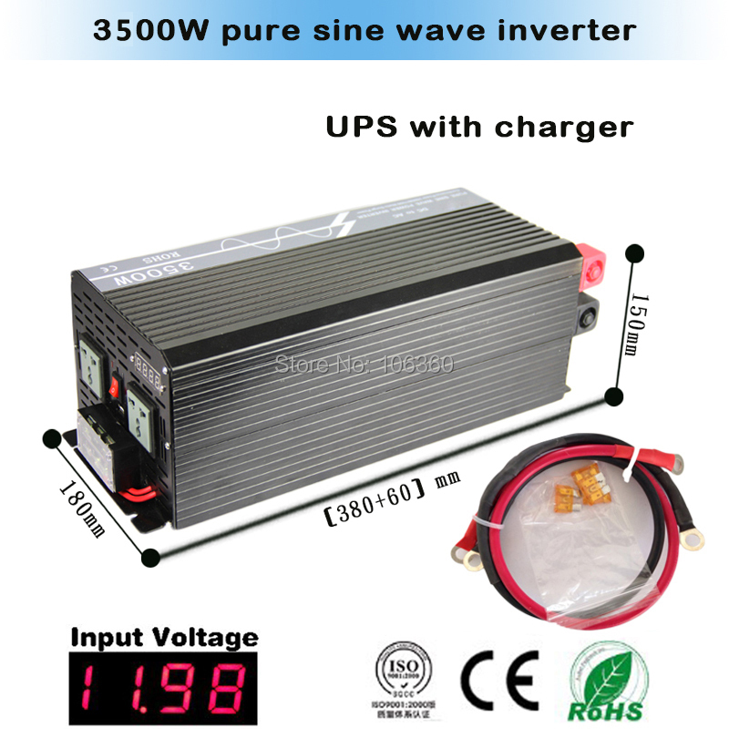 free shipping 3500W pure sine wave power inverter DC 24V AC 110V with UPS charger(China (Mainland))