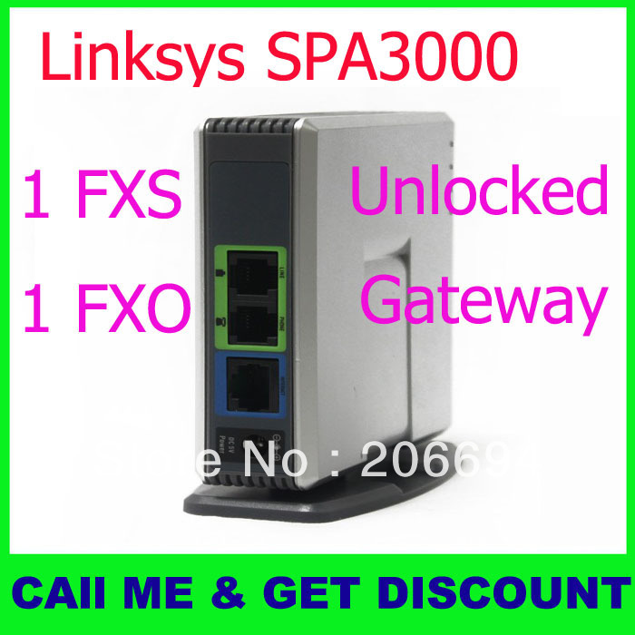 Free shipping VoIP Gateway SPA3000,IP ATA-unlock Linksys Phone Adapter with FXO and FXS No package box(China (Mainland))