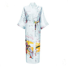 Summer New Beige Female Faux Silk Robes Bathrobe Chinese Style Long Sleepwear Kimono Gown Robes One Size BR024(China (Mainland))
