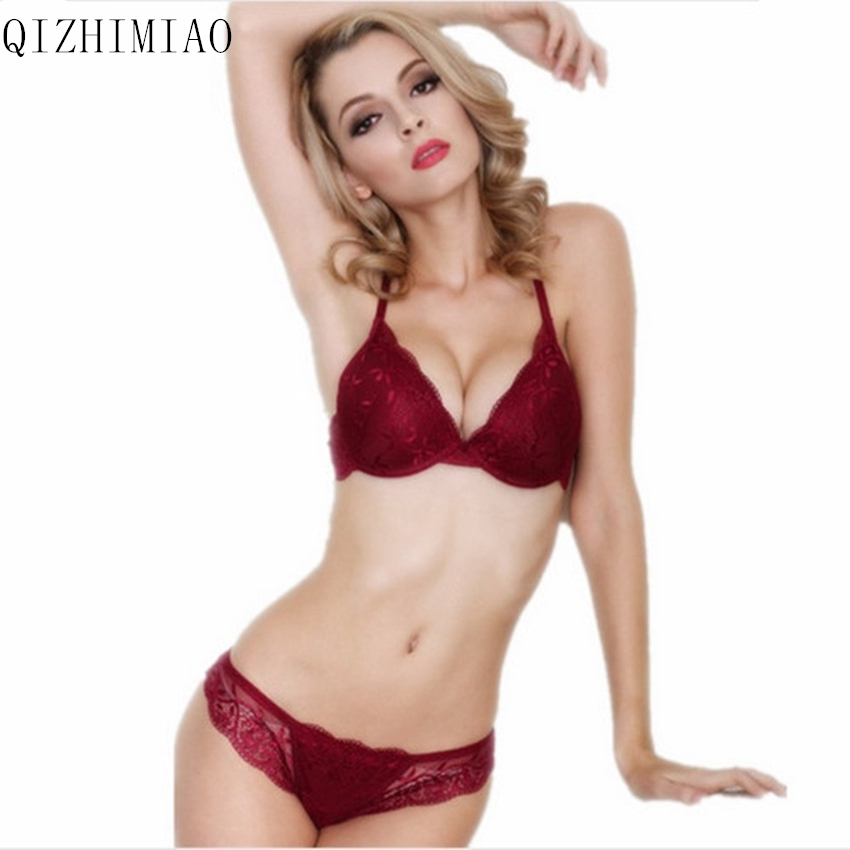 New 2017 cotton push up bra Absolute luxury lace sexy red wine under the thin thick underwear bra suit the underwear is female