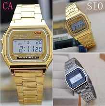 New Arriving Vintage Stainless Steel LED Digital Dress Watch Gold Silver Electronic Square Watch Alarm Sportwatch  Quartz Watch(China (Mainland))