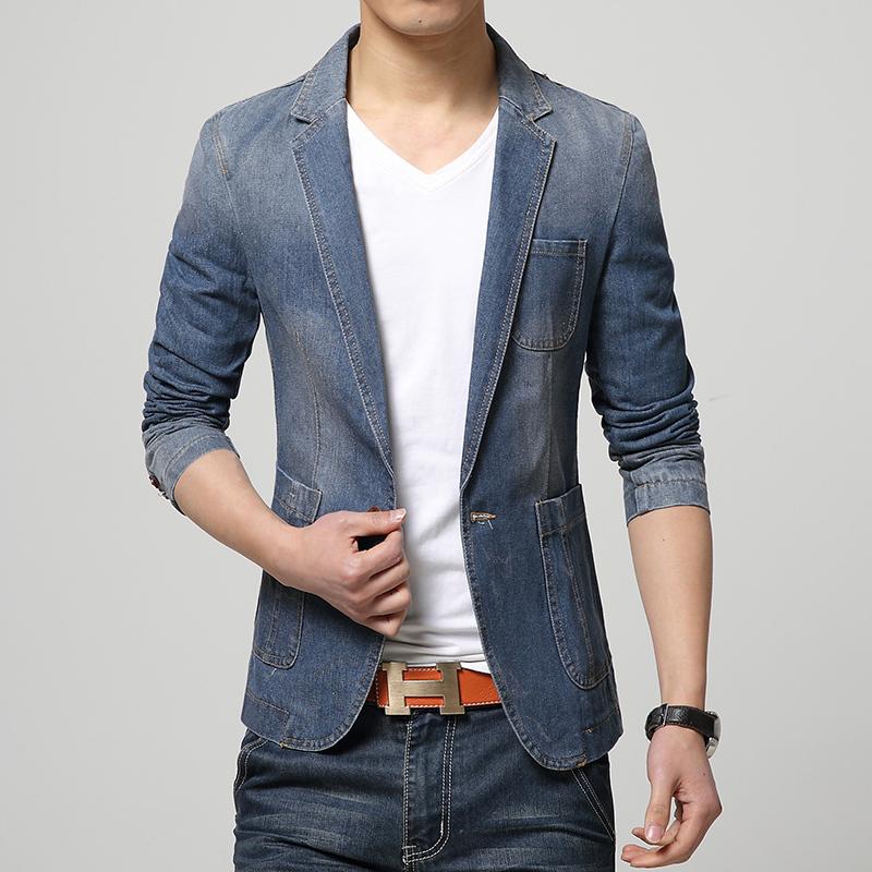 HOT 2015 New Spring Fashion Brand Men Blazer Men Trend Jeans Suits Casual Suit Jean Jacket Men Slim Fit Denim Jacket Suit Men(China (Mainland))