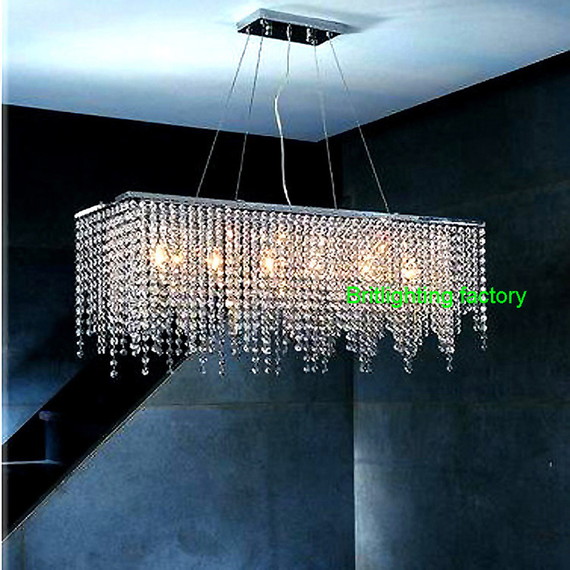 Modern Crystal Chandelier Light for dining room led crystal chandeliers Square lamp rectangle living room lights curtain lights(China (Mainland))