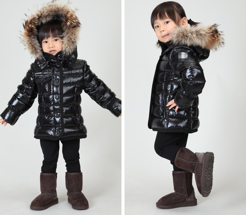 Childrens clothing winter baby down coat male female child down coat black short design large fur collar<br><br>Aliexpress