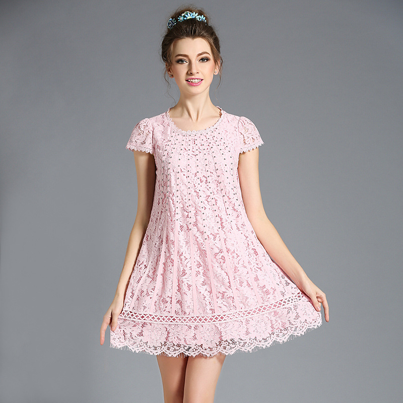 L-5XL Slim A-line Pink Sweet Dress Sweet Flower Lace Crochet Plus Size With Silver Beadings 2016 Summer Women Dresses(China (Mainland))