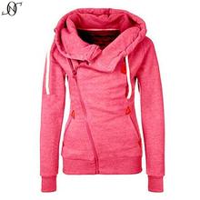 2015 Fashion Women Winter Spring Zipper Hooded Sweatshirts Outwear Coat Sportswear Zip-up Tie Collar Sport Hoodies(China (Mainland))