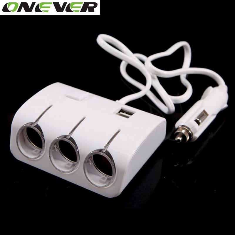 Car Cigarette Lighter Plug Power Adapter Output 120W 5V Dual USB Port 3 Way Car Cigarette Lighter Socket Splitter Charger 12V(China (Mainland))