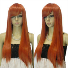 Wholesale& heat resistant LY free shipping>>>New wig Cosplay Long Orange Straight With Bang Women's Wig