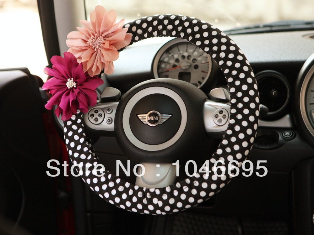 Car steering wheel cover polka dots with chiffon flower for Automobile decoration accessories