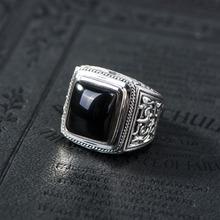 Старинный Черный камень 100% Реального Чистая Стерлингового Серебра 925 Кольцо Для Мужчин С Натуральным Камнем Подлинной личности Ювелирные Изделия Рок Моды(China (Mainland))