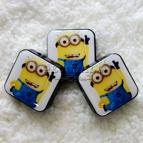 Wholesale - - 100pcs/lot Cartoon Mini Square Clip Mp3 Player With USB Cable+Super Box+Earphones & Free Shipping(China (Mainland))