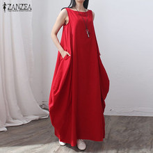 Buy ZANZEA Women 2017 Summer Fashion Vintage Elegant Solid Sleeveless Dress Linen Casual Loose Long Maxi Dresses Vestidos Oversized for $12.80 in AliExpress store