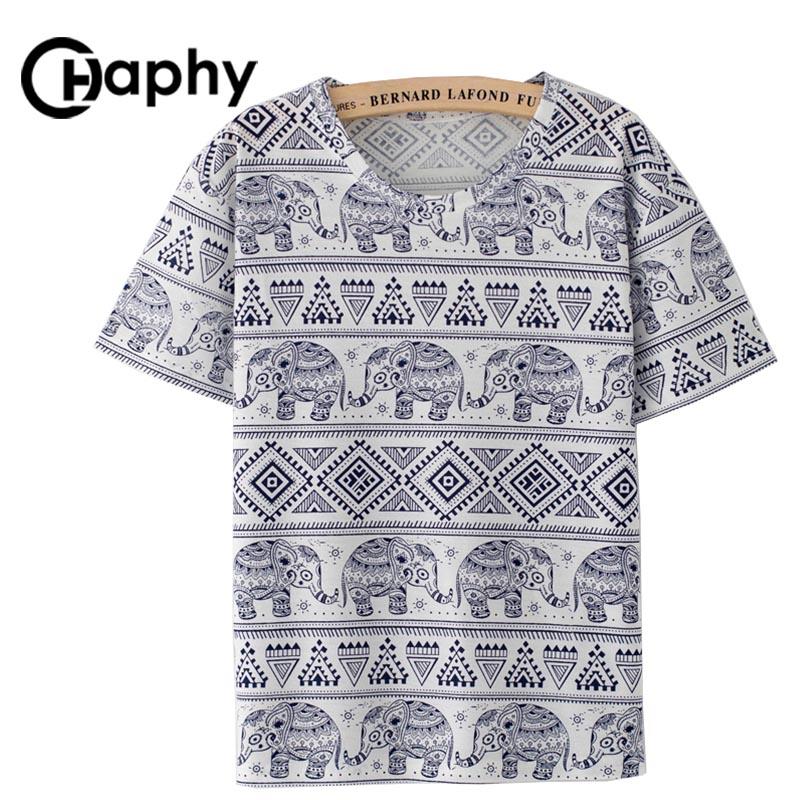Women Elephant Print T shirt 2017 Summer Style T-shirt O-neck Camisas Mujer Female T shirt Women's Clothing Tops Elephant Tshirt(China (Mainland))