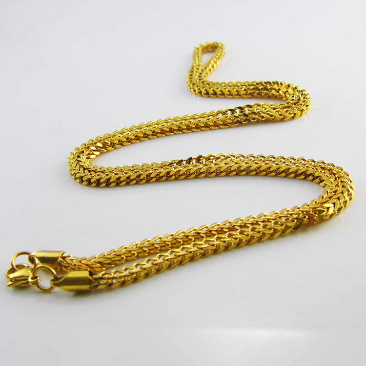 3mm Wide 28 Inches Long Franco Chain Necklace 18K Gold Filled Necklace MENS BOYS Chain Necklace Fashion Jewelry Gift(China (Mainland))