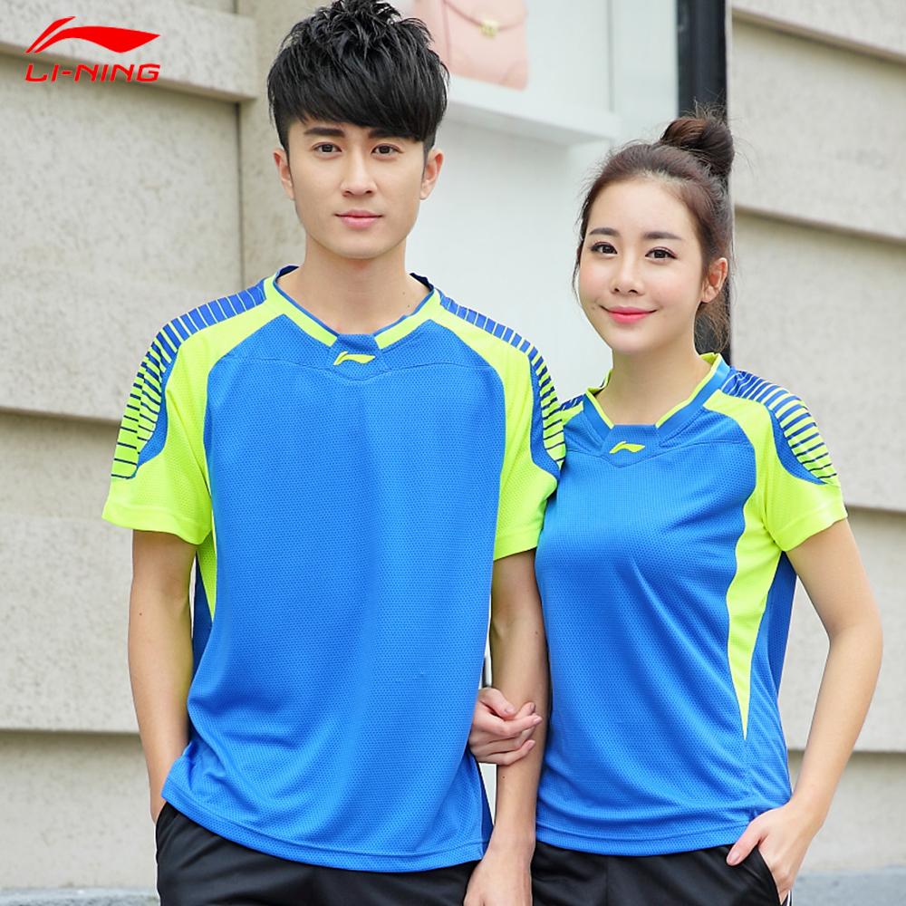 Li-Ning Men Quick Dry Badminton Shirt Round Neck Breathable Badminton Top 2016 New Model AAYL036 AAYL035(China (Mainland))